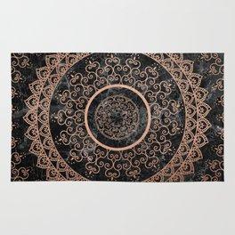 Mandala - rose gold and black marble Rug