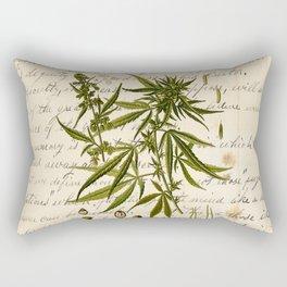 Marijuana Cannabis Botanical on Antique Journal Page Rectangular Pillow