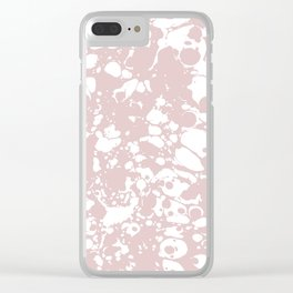 Blush Pink White Spilled Paint Mess Clear iPhone Case