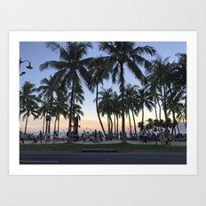 Sunset on Waikiki Art Print