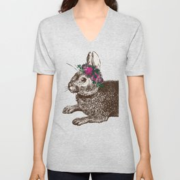 The Rabbit and Roses | Vintage Rabbit with Flower Crown | Rabbit Portrait | Bunny Rabbits | Bunnies Unisex V-Neck