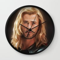 thor Wall Clocks featuring Thor by LindaMarieAnson