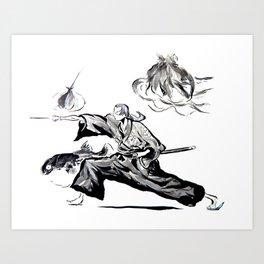 Jin - Samurai Champloo Sumi-e Art Print