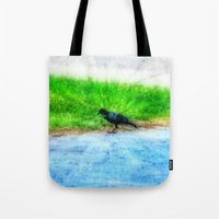 crow Tote Bags featuring Crow by Geni