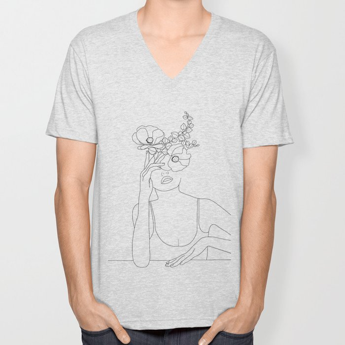 Minimal Line Art Woman with Flowers II Unisex V-Neck
