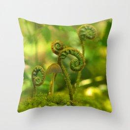 Mushroom In The Ferns... Throw Pillow
