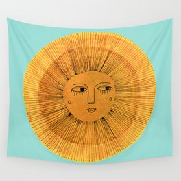 Sun Drawing Gold and Blue Wall Tapestry