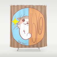 fat Shower Curtains featuring Fat Fat Peeks by Fat Fat