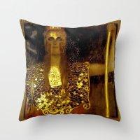"gustav klimt Throw Pillows featuring ""Pallas Athena"", Gustav Klimt by Vintage Germany"