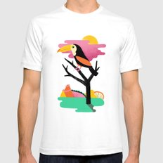 Toucan White SMALL Mens Fitted Tee