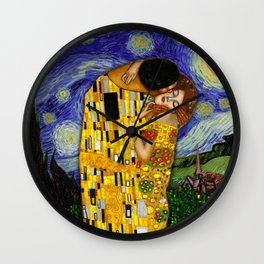 The kiss under the starry night Wall Clock