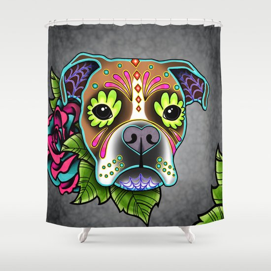 Boxer In White Fawn   Day Of The Dead Sugar Skull Dog Shower Curtain