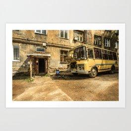 Old Yellow Bus House Art Print