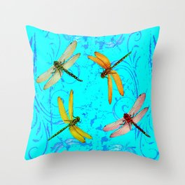 DRAGONFLY WORLD IN BLUE ABSTRACT ART DESIGN Throw Pillow