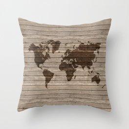 Rustic world map Throw Pillow
