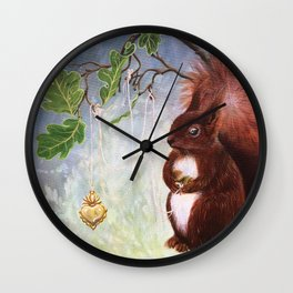 A fuzzy feeling - squirrel Wall Clock