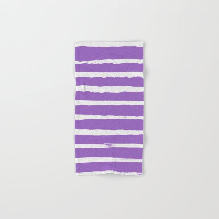 Irregular Hand Painted Stripes Purple Hand & Bath Towel
