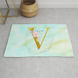 Gold Foil Alphabet Letter V Initials Monogram Frame with a Gold Geometric Wreath Rug