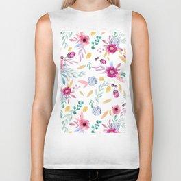 Watercolor Flowers Biker Tank