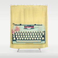typewriter Shower Curtains featuring The Typewriter by Cassia Beck