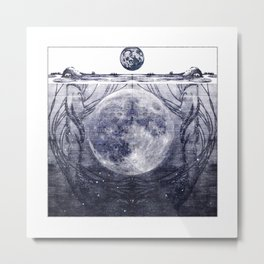 Water Nymphs and Moon Metal Print