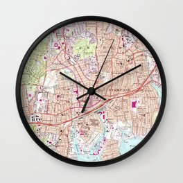 Stamford Connecticut Map (1987) Wall Clock