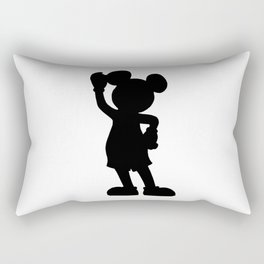 Mickey Silhouette waving iconic cartoon figure complete with ears and gloves Rectangular Pillow