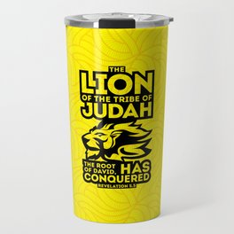 The Lion of the tribe of Judah, the Root of David, has triumphed. Travel Mug