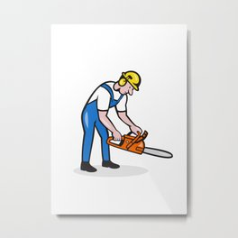 Lumberjack Arborist Operating Chainsaw Cartoon Metal Print