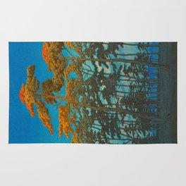 Vintage Japanese Woodblock Print Art Print Tall Sunset Trees Silhouette Twilight Forest East Asian Rug