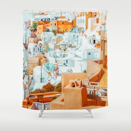 Santorini Vacay #photography #greece #travel Shower Curtain