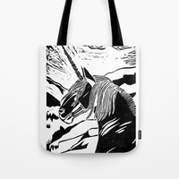 unicorns Tote Bags featuring Unicorns by Lily Livingston