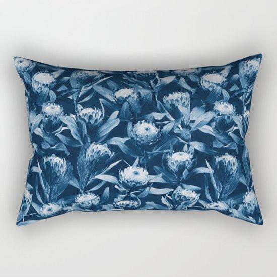 Evening Proteas - Denim Blue Rectangular Pillow