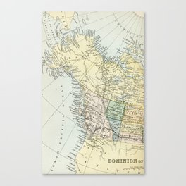 Vintage Map of Canada Canvas Print