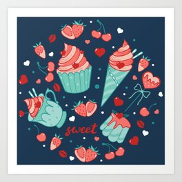 Valentine's sweets - Blue Art Print