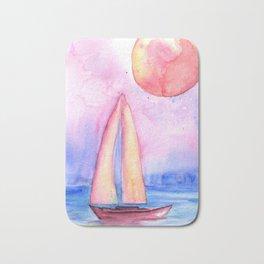 sail under the moon Bath Mat