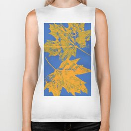 Eco botanical print orange - blue Biker Tank