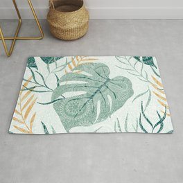 Topical leaves collage pattern white paisley accent Rug