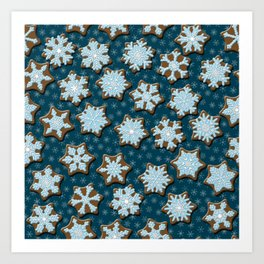 Frosted Gingerbread on Winter Night Sky Art Print