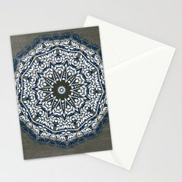 BLUE, GREY AND WHITE MANDALA  Stationery Cards