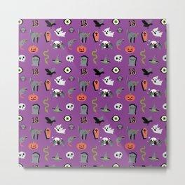 Halloween pattern in violet purple Metal Print