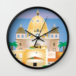 Cartagena, Columbia - Skyline Illustration by Loose Petals Wall Clock
