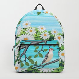 red bellied woodpeckers and daisies Backpack