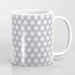 White Polka Dots and Circles Pattern on Pantone Lilac Gray Coffee Mug