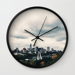 Edmonton Alberta, Digital Painting of a Very Cloudy Downtown just Before an Autumnal Storm Wall Clock
