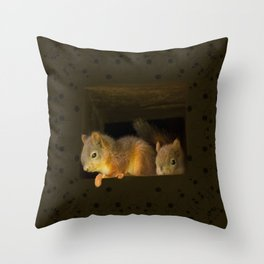 Young squirrels peering out of a nest #decor #buyart #society6 Throw Pillow