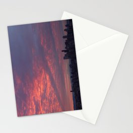 Downtown Seattle and Mt Rainier at Sunrise Stationery Cards