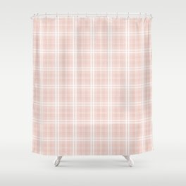 Spring 2017 Designer Color Pale Pink Dogwood Tartan Plaid Check Shower Curtain