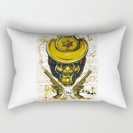 Monkey Cowboy Skull with Twin Guns Rectangular Pillow