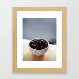 Bowl full of cherries Framed Art Print